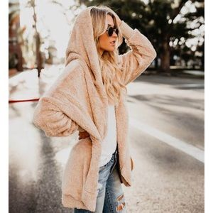 Sweaters - Plush Cozy Tan Open Front Hooded Cardi